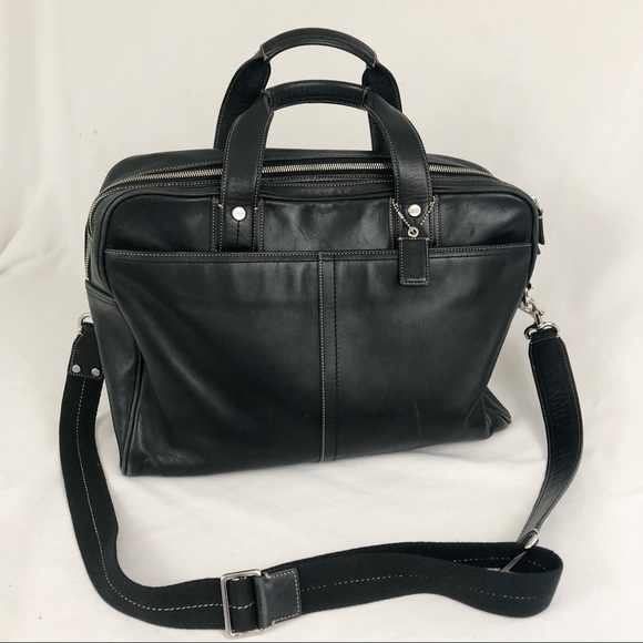 f2004bd52f0d Coach black leather messenger laptop bag large